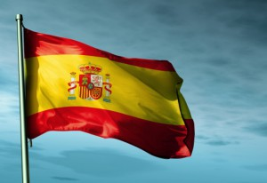 Spain flag waving in the evening